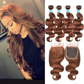JulyQueen Brazilian Virgin Human Hair 4 Bundles 50G/Bundle Deals with 4x4 Lace Closure Body Wave Light Auburn Human Hair Weaves Extensions(14 14 16 16+12closure,Color 30)