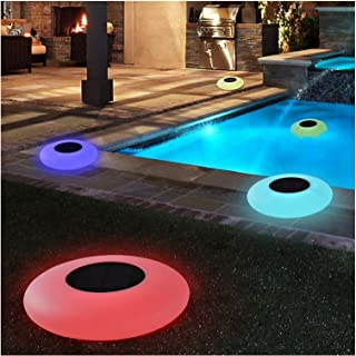 2 Pcs Floating Pool Lights Solar Swimming Pool Garden Light with 16 Color Changing Outdoor Solar Light Waterproof LED Ligh...