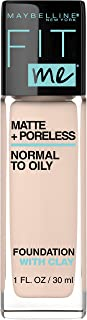 MAYBELLINE Fit Me Matte + Poreless Liquid Foundation Makeup, Natural Ivory, 1 fl; oz; Oil-Free Foundation