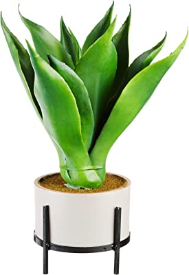 """Nearly Natural 1 Agave Succulent in Planter, 14"""", Green"""