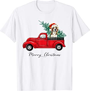 Vintage Red Truck with Beagle Christmas Tree Pajama T-Shirt