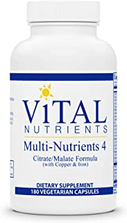 Vital Nutrients - Multi-Nutrients 4 - Citrate/Malate Formula (with Copper and Iron) - Multi-Vitamin/Mineral Formula with P...