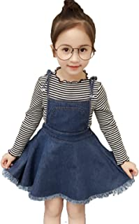 Kids Baby Girls Striped Sweater Long Sleeve Shirt Tops +Suspender Tassel Denim Tutu Skirt Set