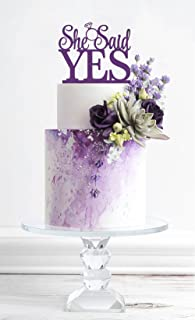 [USA-SALES] She Said Yes Cake Topper, Purple, Bridal Shower, Engagement Party Decoration, by USA-SALES Seller