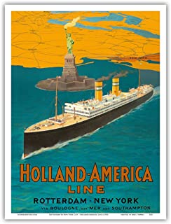 Rotterdam to New York City - Holland-America Line - Statue of Liberty - Vintage Ocean Liner Travel Poster c.1950 - Master Art Print - 9in x 12in