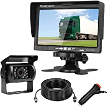 Emmako HD 720P Backup Camera and 7'' Monitor Kit for Cars,Pickups,Vans,Bus,Trucks,Trailers,RVs,High-Speed Rear Observation System Adjustable Rear/Front View, Guide Lines ON/Off, IP69K Waterproof
