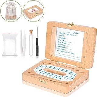 Wildlead Madera Caja de Dientes para beb/és Organizador Almacenamiento de Dientes de Leche Recoger Dientes Umbilica Guardar Caja Regalos