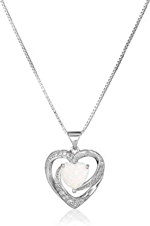 Sterling Silver Created Opal and White Sapphire Open Heart Pendant Necklace, 18