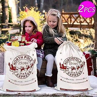 Aytai 2pcs Santa Sacks Gift Bag with Drawstring Large Christmas Bag Santa Bags for Kids Christmas gift bags 19 x 27 Inch