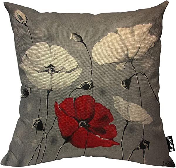 Mugod Poppy Flower Pillowcase Beautiful Charming Watercolor Poppy Vintage Red White 18 X 18 Soft Square Cotton Linen Pillow Case Cushion Cover Home Decorative For Men Women Boys Girls