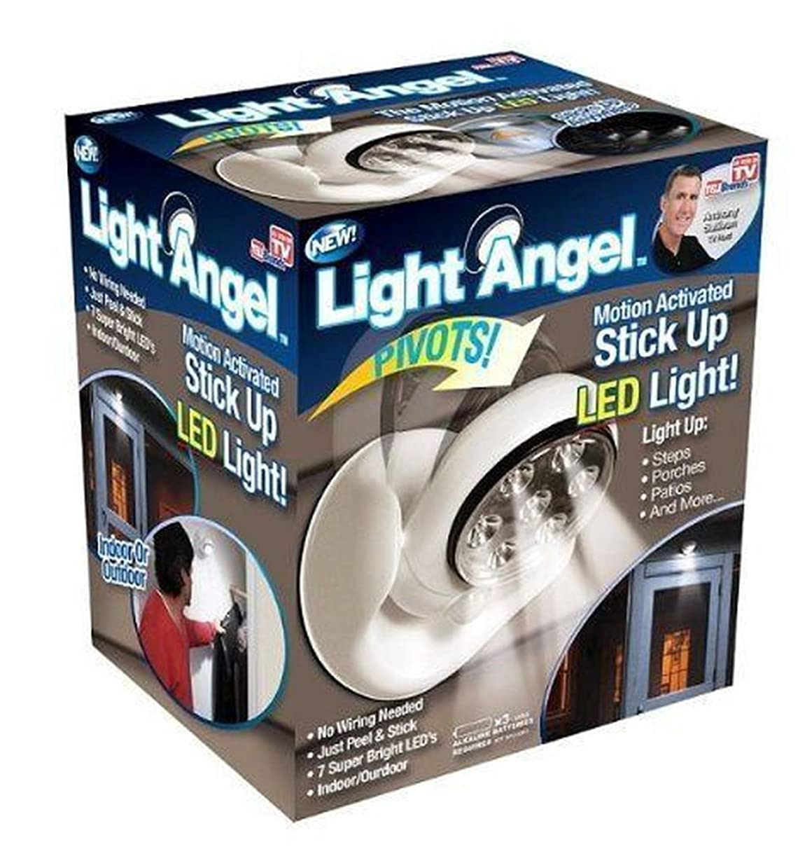 Light Angel Motion Activated Cordless 7 LED Steps Porches Decks Pathway Stairs