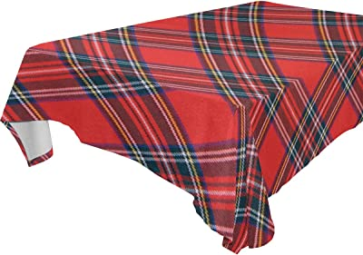 44040d2da02ccb LORVIES Rectangle Royal Stewart Tartan Tablecloth for Wedding Party  Holidays Washable Polyester Table Cloth Cover
