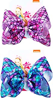 2 Pack Siwa Style Hair Bows for Girls -8 Inch Large Ribbon Hair Bows Alligator Clips Hair Barrettes Accessories Mermaid Bows Best Xmas Gift