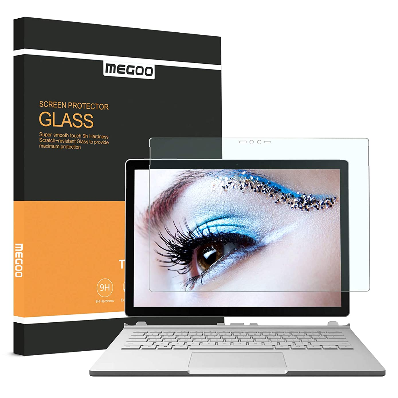 Megoo Surface Book Screen Protector, [Anti-Blue Blocking] Tempered Glass Protector Also for Microsoft Surface Book2-13.5Inch