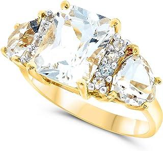 10k Yellow Gold Octagon Trillion White Topaz Gemstone Three Stone Ring For Women
