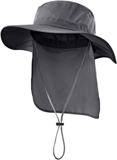 Outdoor UPF50+ Mesh Sun Hat Wide Brim Fishing Hat with Neck Flap