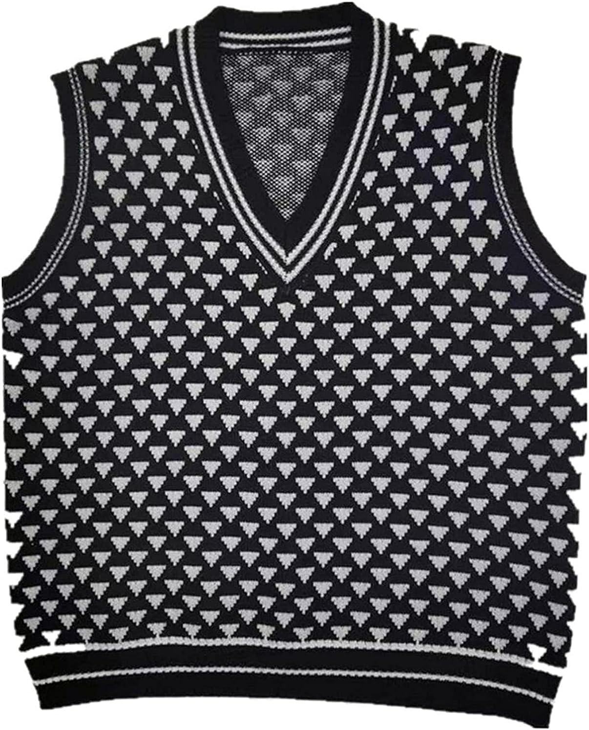 Women's Kawaii Triangle Pattern Sweater Vest V Neck Sleeveless Knitted Tops