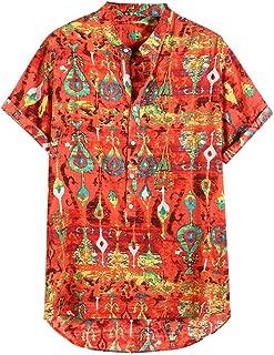 PEIZH Men's Summer Cotton Printed Short Sleeve Casual Buttons Henley Shirts Tie Summer Tops Henley Shirts