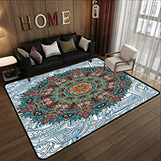 Outdoor Carpet,Mandala Bohemian Hippie Decor,Medallion Damask Star Patchwork Octagon Peacock Feather Yoga Art Print,Blue White Beige 35