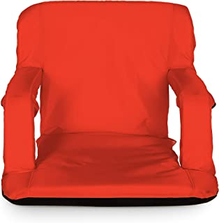 Camco Red Portable Reclining Stadium Seat for Bleachers with Carry Straps-Water Resistant, Comfortable Cushioned Design with Adjustable Arm Rests, and Zippered Storage (53096)
