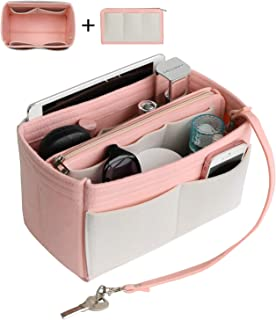 Joqixon Handbag Purse Organizer Insert Bag Organizer with Zipper - Color Block