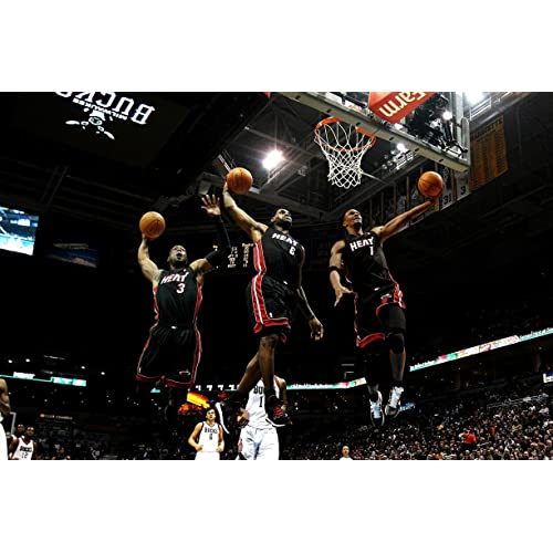 c4dea6d4 Dwyane Wade Chris Bosh Lebron James Miami Heat Basketball Limited Print  Photo Poster 22x28