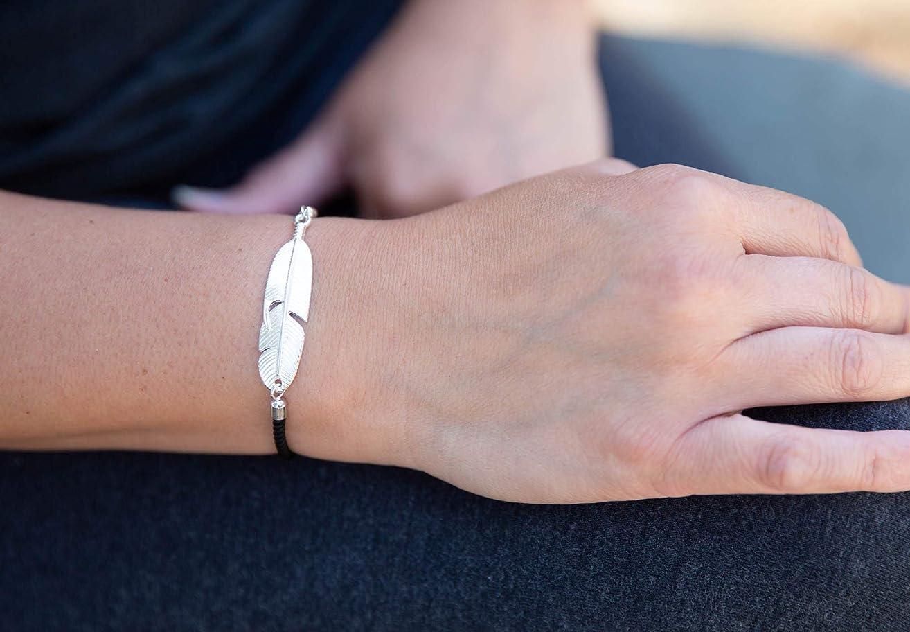 Bolo Silver-tone Feather Slide Bracelet Black Inspirational Gift