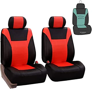 FH Group PU003102 Racing PU Leather Car Pair Set Seat Covers, Airbag Ready, Tangerine/Black Color - Fit Most Car, Truck, SUV, or Van