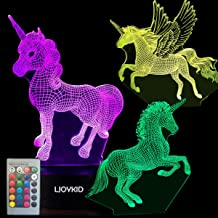 3PCS 3D Unicorn Night Light——3D Unicorn Lamp 3 Pattern 7 Colors Changing Decor Lamp with Remote Control for Kids Illusion ...