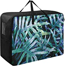 Large Storage Bins Special Fern Plant Leaves Blankets Clothes Bedspread Storage Bag Fabric Closet Organization Sweater Duvet Storage Bags for Storing Bulky Bedding Accessories Wardrobe