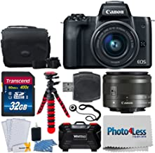 Canon EOS M50 Mirrorless Digital Camera + EF-M 15-45mm f/3.5-6.3 is STM Lens (Graphite) + 32GB Memory Card + Camera/Camcorder Bag + Flexible Tripod + Cloth + Card Reader – Complete Accessory Bundle