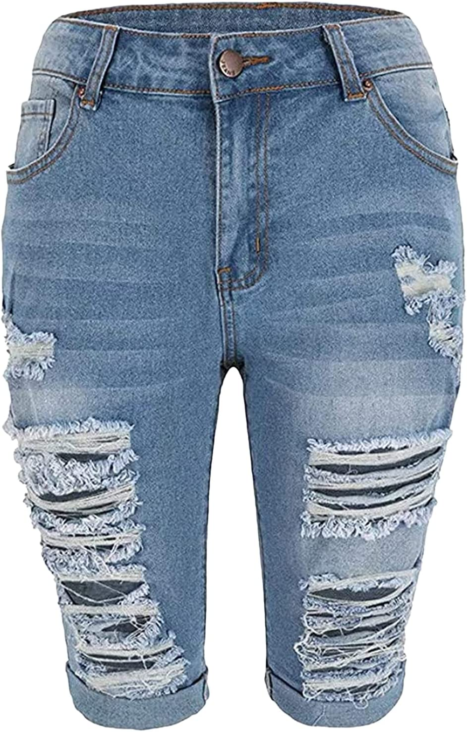 Women's Mid Rise Ripped Denim Short Destroyed Knee Length Washed Jeans Shorts Fashion Stretchy Rolled Hem Jean Short-pant (Dark Blue,Large)