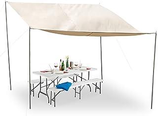 Relaxdays Parasoll rektangulär, pluggbara stänger, rep, dragkedja, vattentät, UV-beständig, polyester, 3 x 4 m, beige