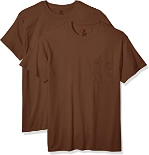 Hanes Men's Workwear Short Sleeve Tee (2-Pack), Army Brown, 4X Large