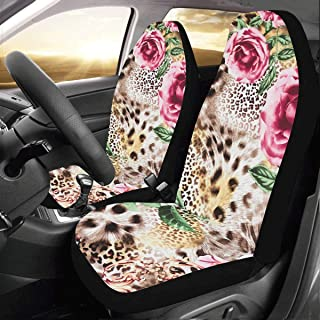 Sexy Colorful Leopard Print Custom New Universal Fit Auto Drive Car Seat Covers Protector for Women Automobile Jeep Truck SUV Vehicle Full Set Accessories for Adult Baby (Set of 2 Front)