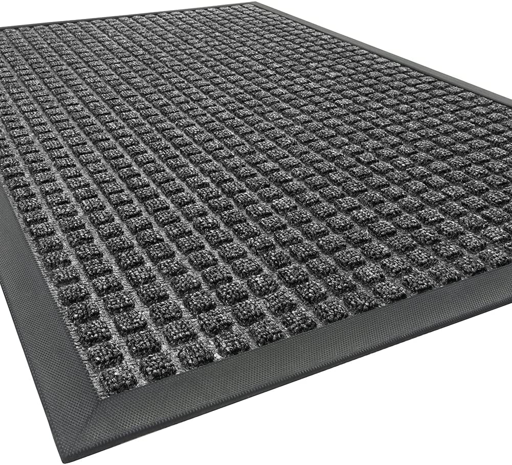 Outdoor Doormats, Non Slip Heavy Duty Rubber Welcome Mats for Front Door, Durable Utility Mud Scrapper Entryway Rug for Indoor Outdoor Floor, Inside Outside Home, Grey, 24