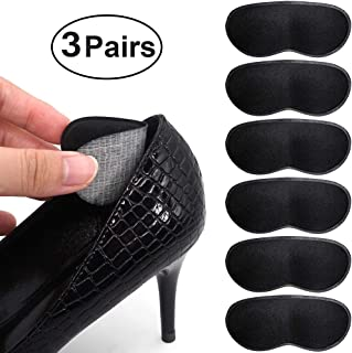 SQHT Heel Grip Liners Insert for Shoes Too Big and Loose Shoes - Prevent blisters, Self Adhesive Shoe Heel Cushion Pads for Men and Women 3 Pair (Black)