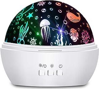 Moredig - Proyector de luz Nocturna para niños, 2 en 1, proyector de Estrella/océano 360°, 8 Colores, lámpara de Noche para bebé, guardería, Dormitorio, decoración, Color Blanco