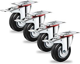Forever Speed Transportwielen, zware zwenkwielen, 4 x 75 mm, zwenkwielen met rem, draagvermogen 150 kg, set (75 mm-4 x met...