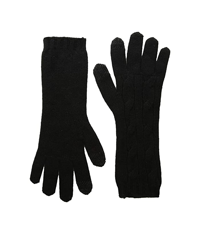 Polo Ralph Lauren  Cashmere Classic Cable Touch Gloves (Black) Over-Mits Gloves