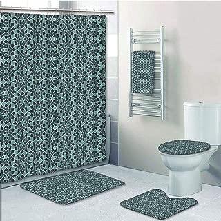 Bathroom Fashion 5 Piece Set shower curtain 3d print,Arabian,Arabesque Persian Geometric Complex Lines and Floral Patterns in Retro Style Culture Art,Blue,Bath Mat,Bathroom Carpet Rug,Non-Slip,Bath To