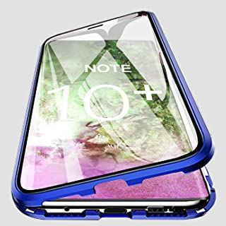 PHOVOLT Galaxy Note10+ Plus Magnetic Case, 360° Tempered Glass Shockproof Magnetic Adsorption Metal Bumper Flip Cover