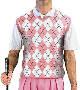 V-Neck Argyle Golf Sweater Vests - GolfKnickers: Mens - Pullover - (A-ZZ)
