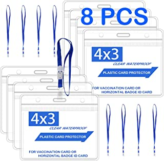 Lulonpon 8pcs Card Protectors with 8pcs Lanyards, 4x3 Inches Clear Card Protector, Waterproof Record Card, Clear Vinyl Pla...
