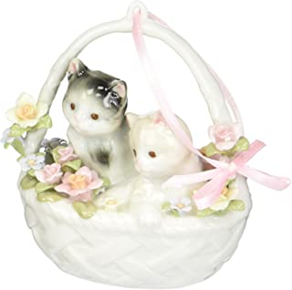 Image of Beautiful Kittens in a Basket Musical Figurine
