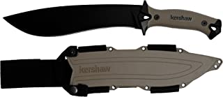 Kershaw Camp 10 – Tan Machete (1077TAN); Black Powdercoated 65 Mn Stainless Steel Fixed Blade; Full Tang Build; Tan Rubber Overmold Handle; Tan Molded Sheath with Lash Points and Nylon Straps; 1.8 oz.