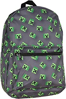 "Minecraft Allover Creeper Print Backpack 17"" Grey"