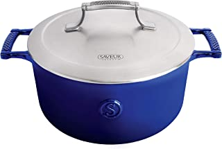 SAVEUR SELECTS Enameled Cast Iron 5-Quart Casserole with Stainless Steel Lid, Classic Blue, Voyage Series