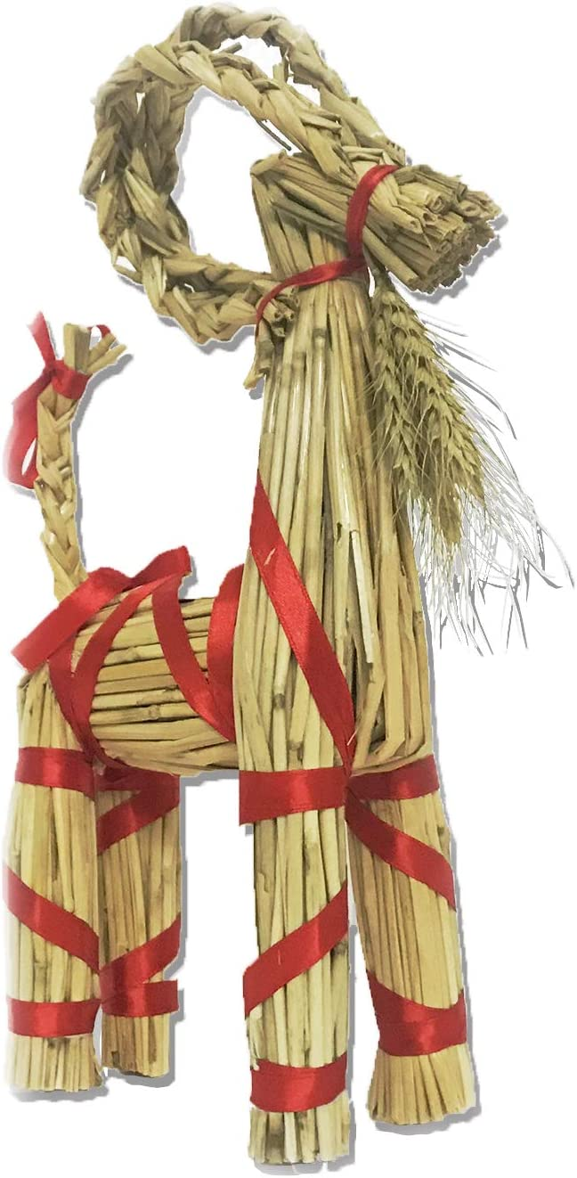 GentingScandinavian Straw Goat Jubbock-12 inches Tall, Garden Yard Outdoor Interior Decoration