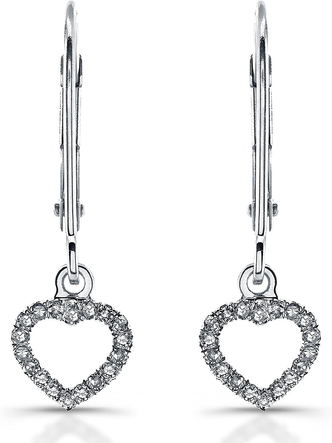 14k White gold Diamond Heart Earrings (1 10cttw, JK, I2I3)